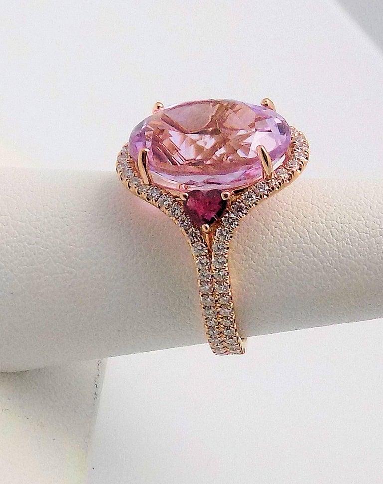 Oval Cut Kunzite and Diamond Ring For Sale