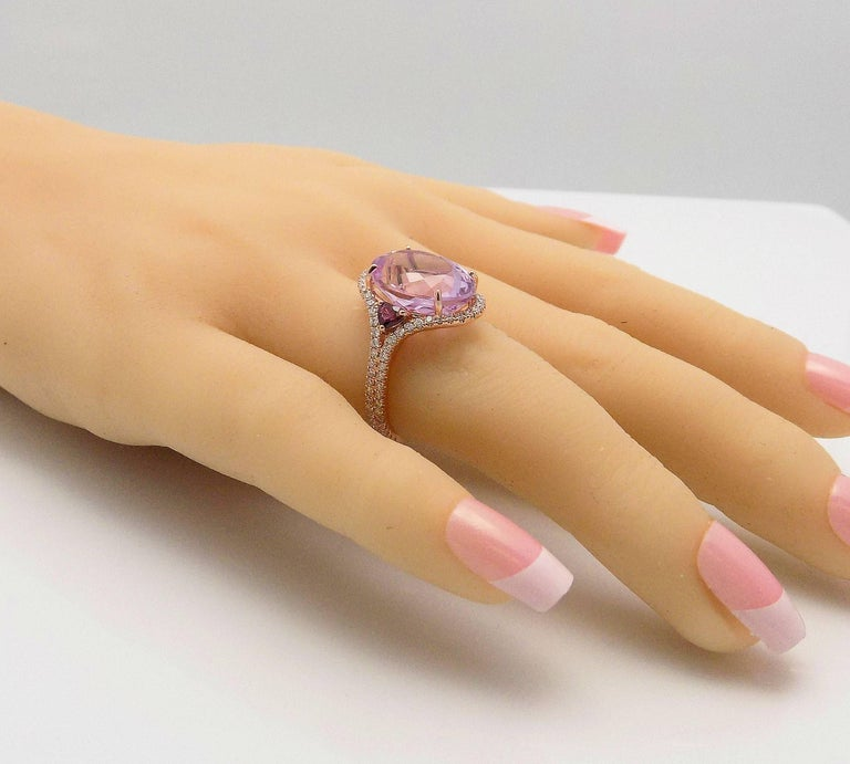 Women's Kunzite and Diamond Ring For Sale