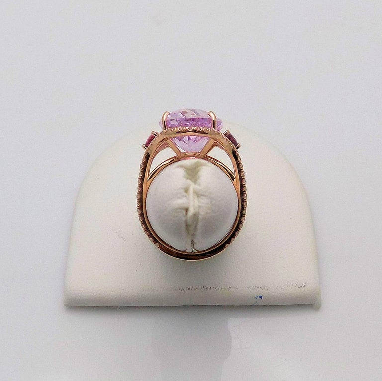 Kunzite and Diamond Ring For Sale 3