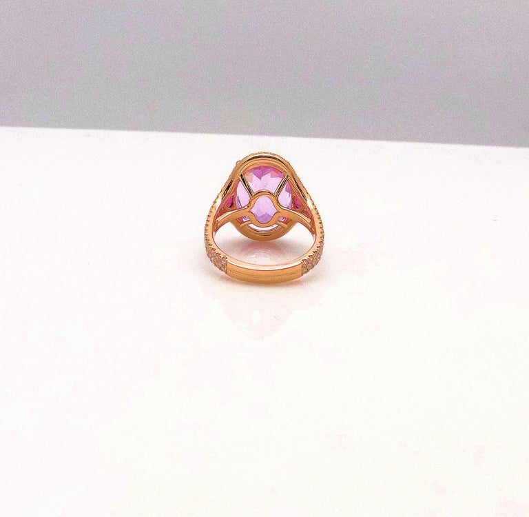 Kunzite and Diamond Ring For Sale 4
