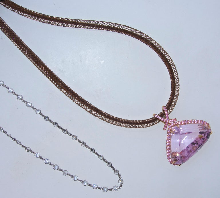 Kunzite and Pink Sapphire and Diamond Pendant-Necklace For Sale 1