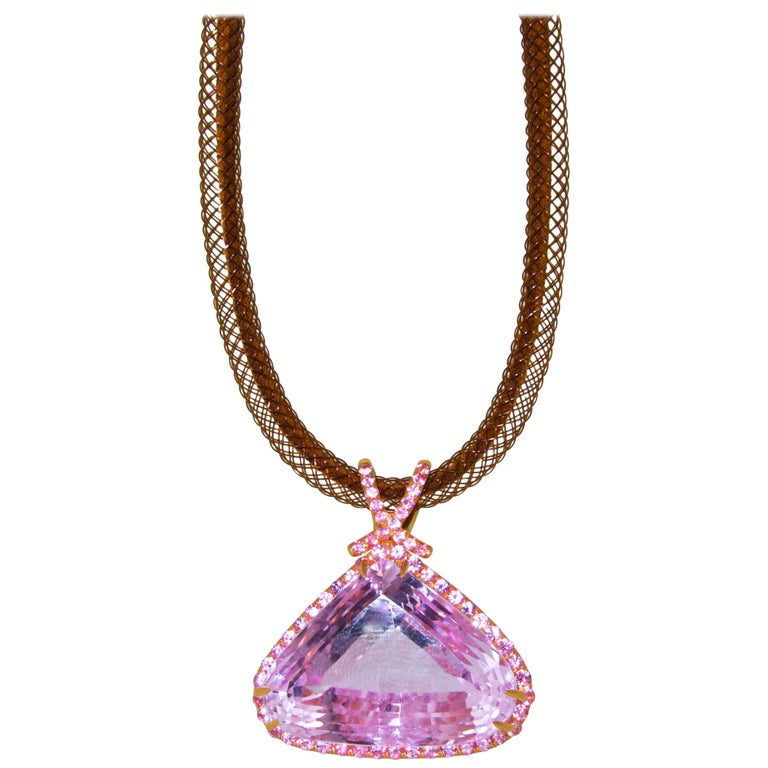Kunzite and Pink Sapphire and Diamond Pendant-Necklace For Sale
