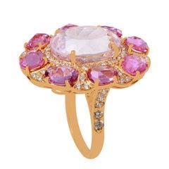 Kunzite and Pink Sapphire Ring in 18 Karat Yellow Gold