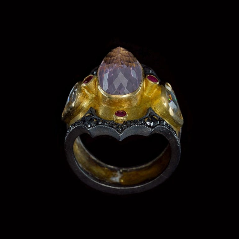 Kunzite and Ruby Byzantine Style Diamond Ring For Sale 3