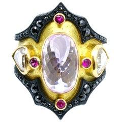 Kunzite and Ruby Byzantine Style Diamond Ring