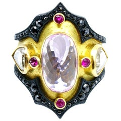 Kunzite and Ruby Byzantine Style Diamond Ring
