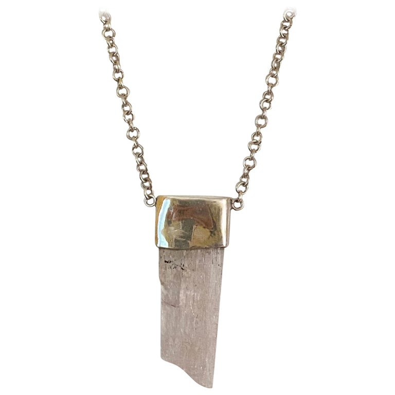 Kunzite Crystal Gemstone Sterling Silver Necklace For Sale