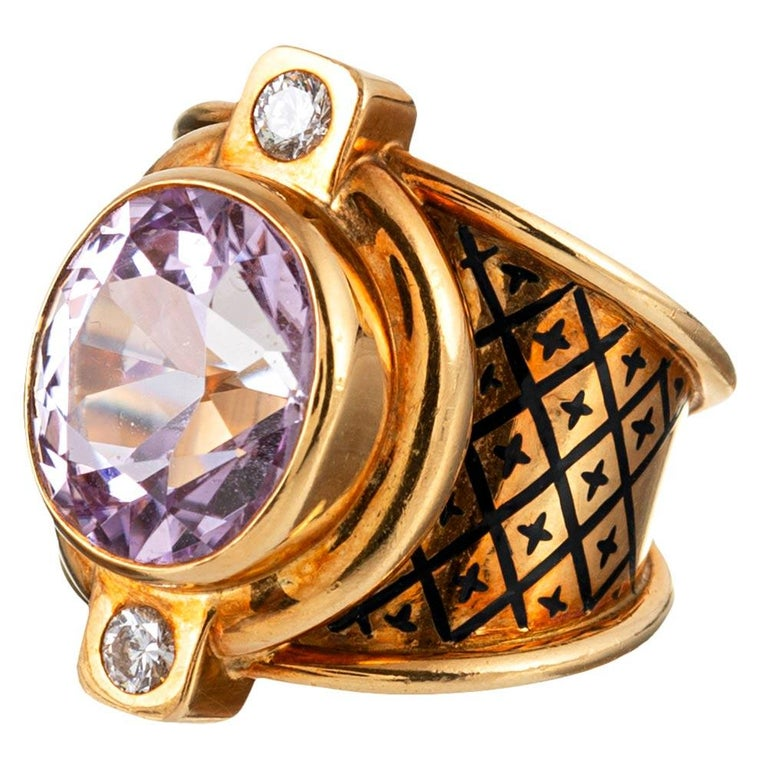 Kunzite, Diamond and Enamel Ring, Signed Elizabeth Gage In Good Condition For Sale In Carmel-by-the-Sea, CA
