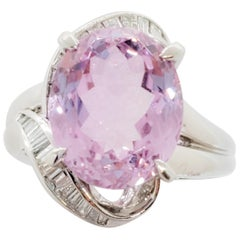 Kunzite Oval and White Diamond Cocktail Ring in Platinum