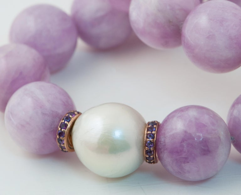 Artisan Kunzite Pearl, Amethyst and Freshwater Pearl, Rose Gold Beaded Necklace For Sale