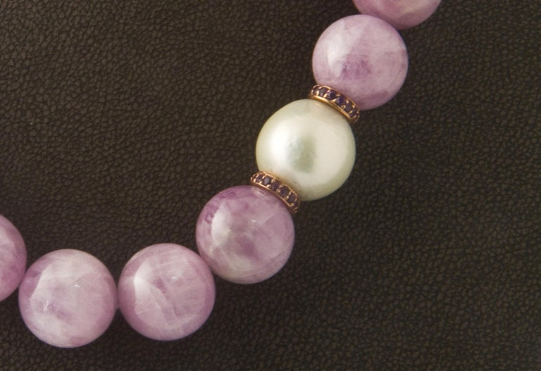 Kunzite Pearl, Amethyst and Freshwater Pearl, Rose Gold Beaded Necklace In New Condition For Sale In Vannes, FR