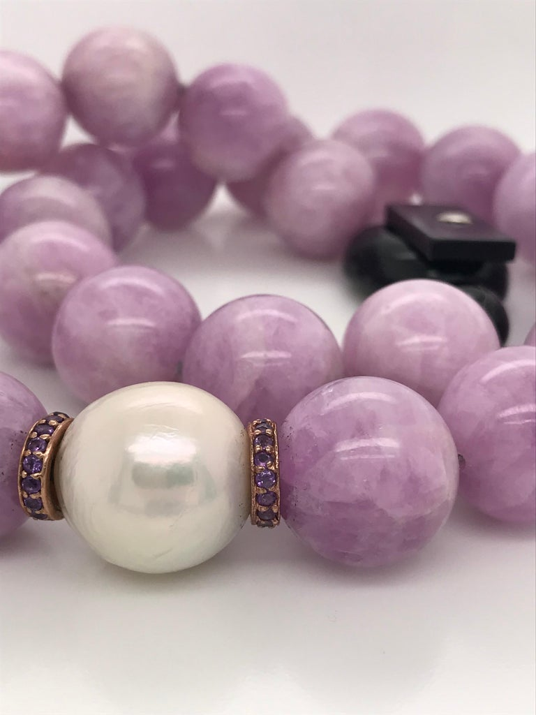 Kunzite Pearl, Amethyst and Freshwater Pearl, Rose Gold Beaded Necklace For Sale 2