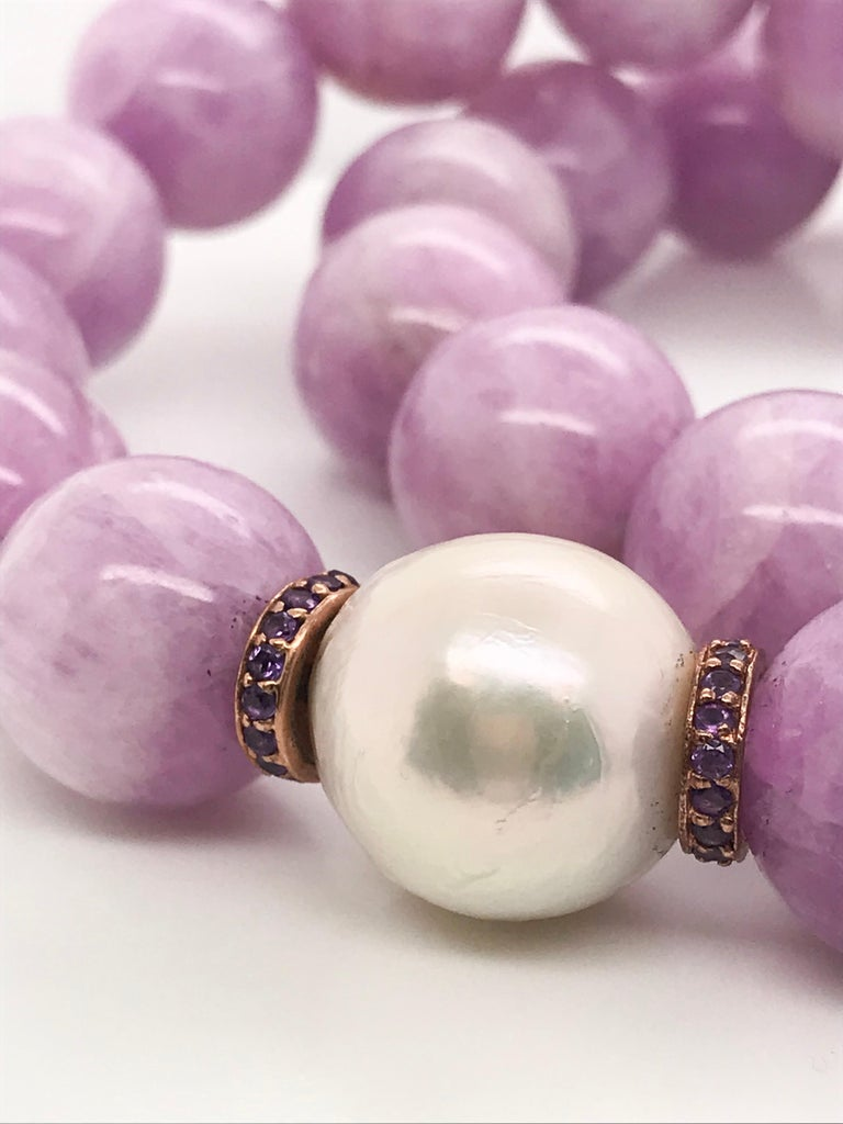 Kunzite Pearl, Amethyst and Freshwater Pearl, Rose Gold Beaded Necklace For Sale 3