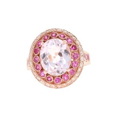 Kunzite Pink Sapphire Diamond 14 Karat Rose Gold Ring