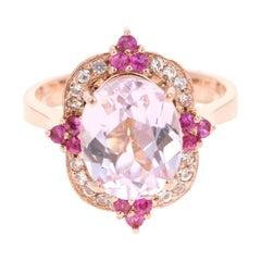 4.75 Carat Kunzite Pink Sapphire White Sapphire 14 Karat Rose Gold Ring