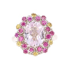 4.94 Carat Kunzite Pink Yellow Sapphire 14 Karat White Gold Cocktail Ring
