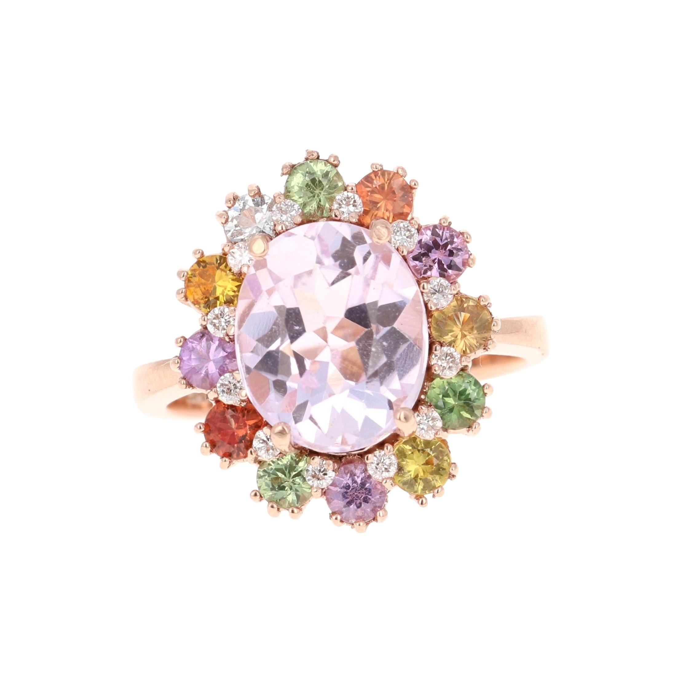 5.60 Carat Kunzite Sapphire Diamond 14 Karat Rose Gold Cocktail Ring