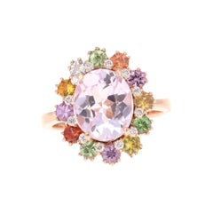 5.60 Carat Kunzite Sapphire Diamond 14 Karat Rose Gold Cocktail Ring