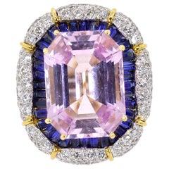 Kunzite Sapphire Diamond Gold Cocktail Ring