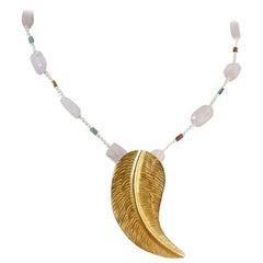 Kunzite Tourmaline Pearl and Yellow Gold Bead Pendant Necklace