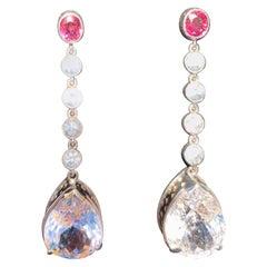Kunzite Tourmaline Zircon Drop Earrings