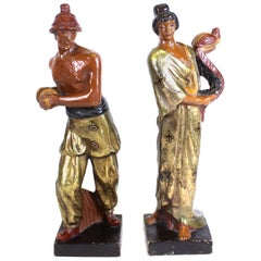 Kupur Art Deco Japonesque Copper-Clad Terracotta Sculptures