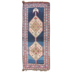 Kurdish Rug with Blue Background and Two Large Tribal Motifs Runner