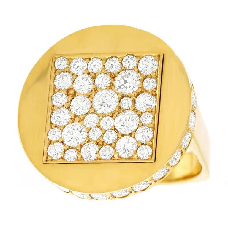 Kurt Aepli for Trudel 1970s Modernist Diamond Set Gold Ring