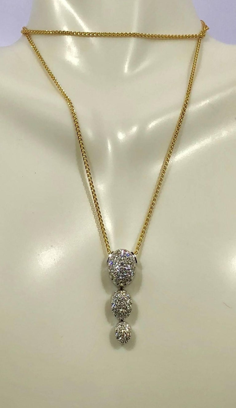 Modern Kurt Gutman 18 Karat White Gold and Diamond Drop Pendant For Sale