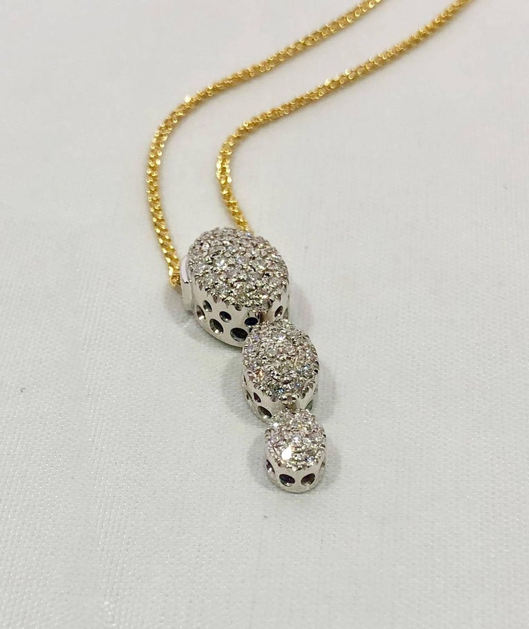 Round Cut Kurt Gutman 18 Karat White Gold and Diamond Drop Pendant For Sale