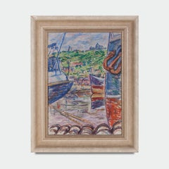 Mid 20th Oil on Board Painting of a Harbour Scene by Kurt Hinrichsen