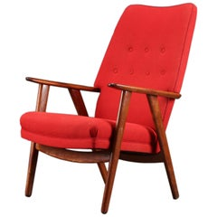 Kurt Olsen Model 230 High Back Midcentury Danish Lounge Chair in Teak