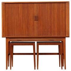 Scandinavian Modern Kurt Ostervig Teak Brown Cabinet, Mid-20th Century