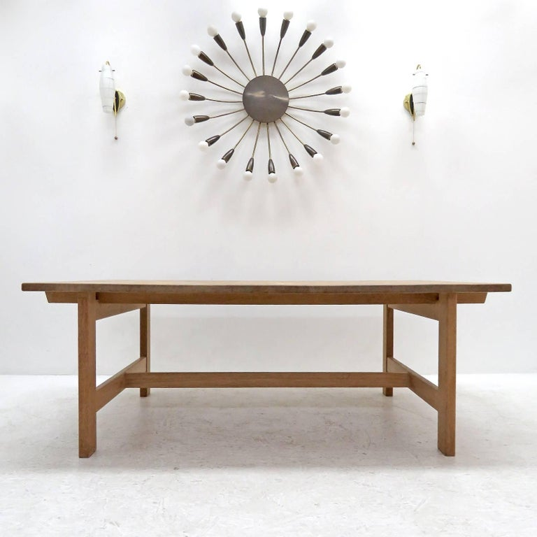 Bold Danish modern, solid oak coffee table by Kurt Ostervig for KP Mobler, 1965, oversized, sturdy oak frame in great condition.