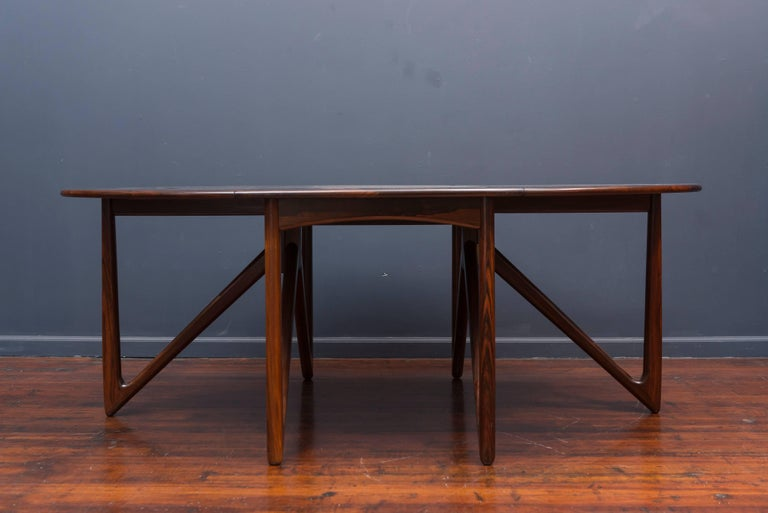 Kurt Ostervig Danish Rosewood Oval Dining Table In Excellent Condition For Sale In San Francisco, CA