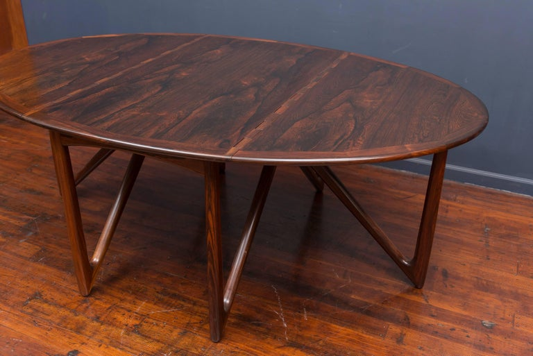 Kurt Ostervig Danish Rosewood Oval Dining Table For Sale 3