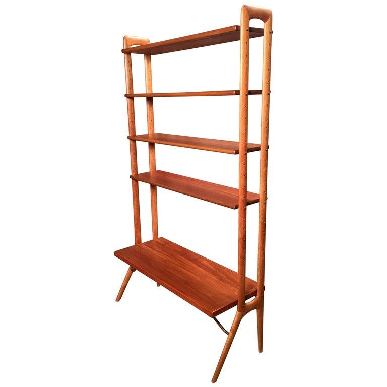 Kurt Ostervig Danish Teak Adjustable Bookshelf and Room Divider For Sale