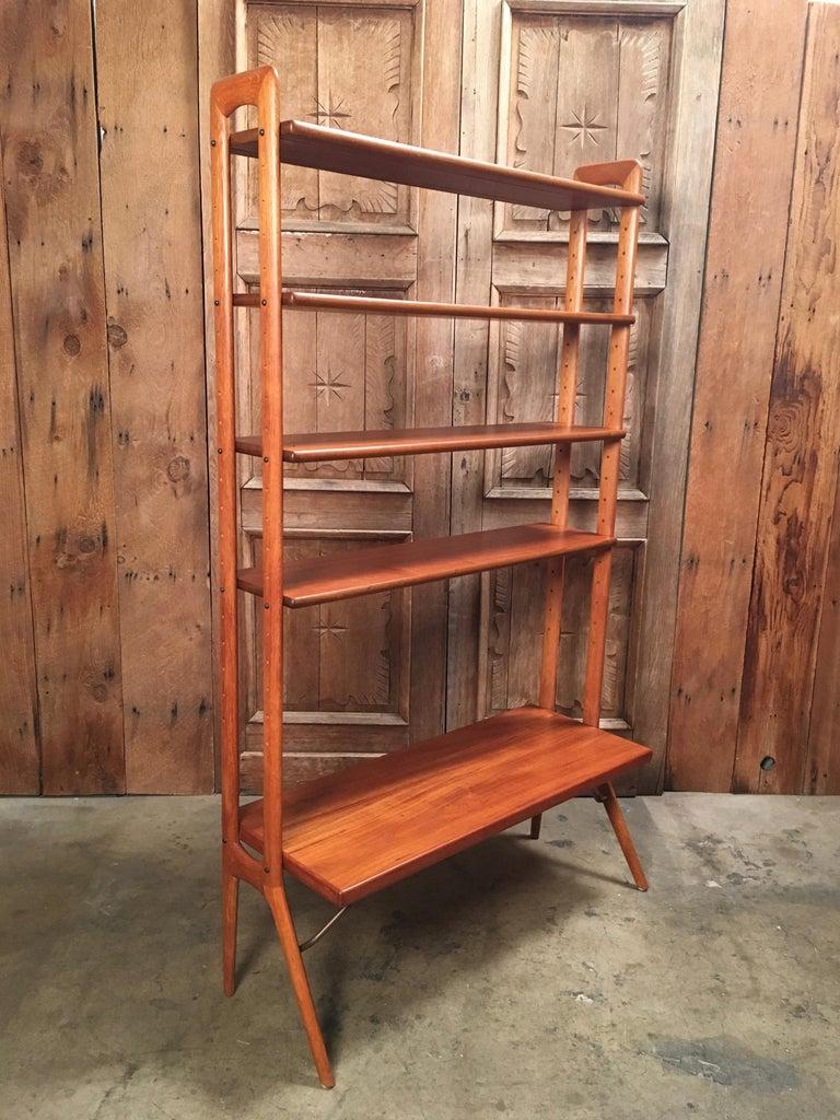 Scandinavian Modern Kurt Ostervig Danish Teak Adjustable Bookshelf and Room Divider For Sale