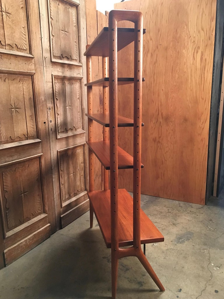 Kurt Ostervig Danish Teak Adjustable Bookshelf and Room Divider For Sale 1