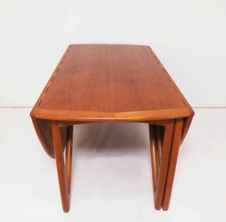 Kurt Ostervig Danish Teak Gate Leg Drop-Leaf Oval Dining Table, circa 1960s For Sale 1