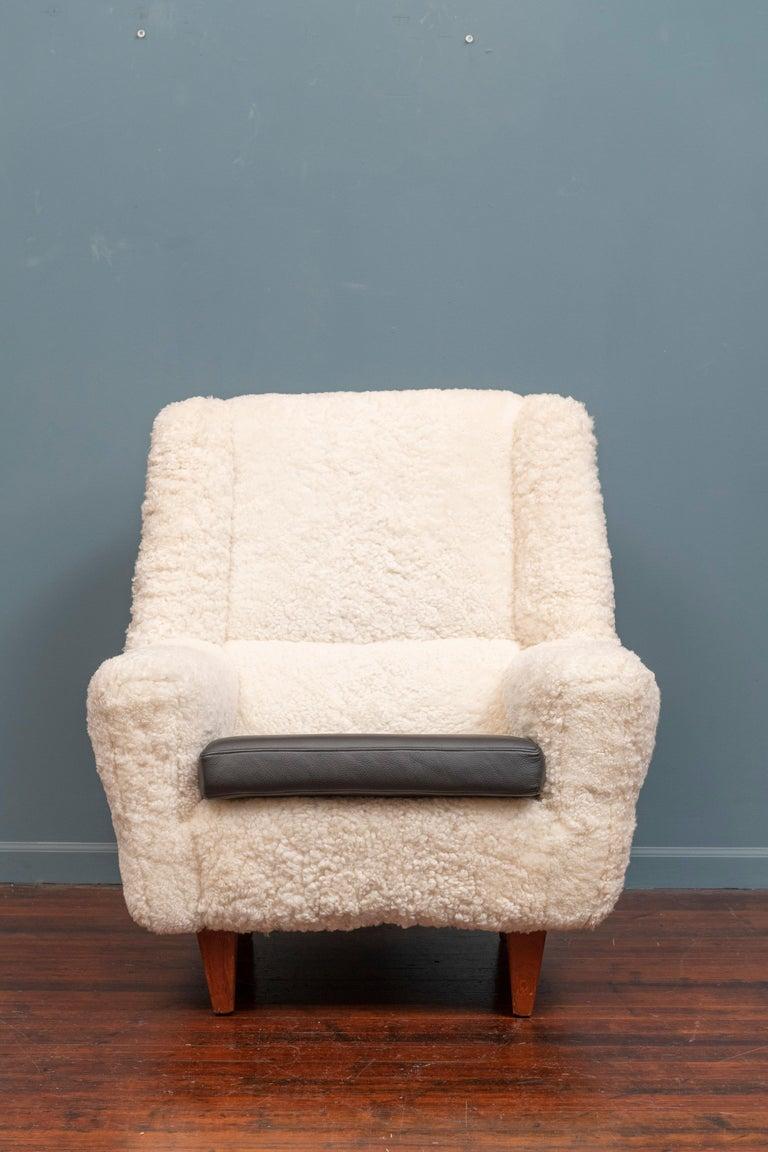 Scandinavian Modern Kurt Ostervig Lounge Chair, Model 61 in Lambswool For Sale