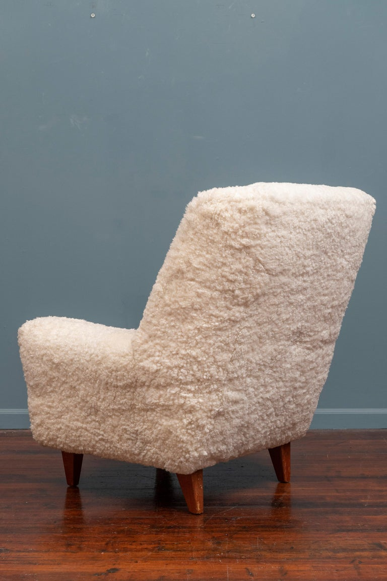 Kurt Ostervig Lounge Chair, Model 61 in Lambswool In Good Condition For Sale In San Francisco, CA