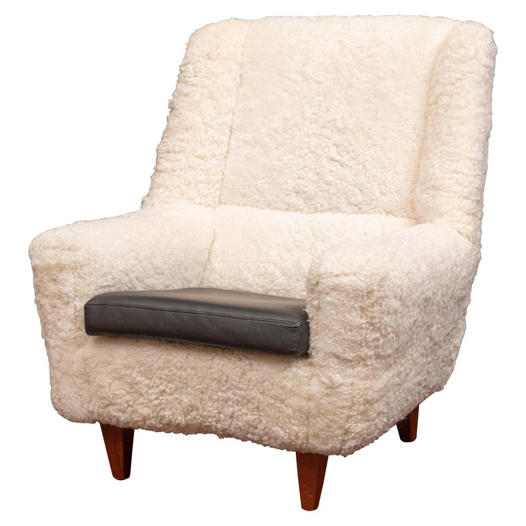 Kurt Ostervig Lounge Chair, Model 61 in Lambswool For Sale
