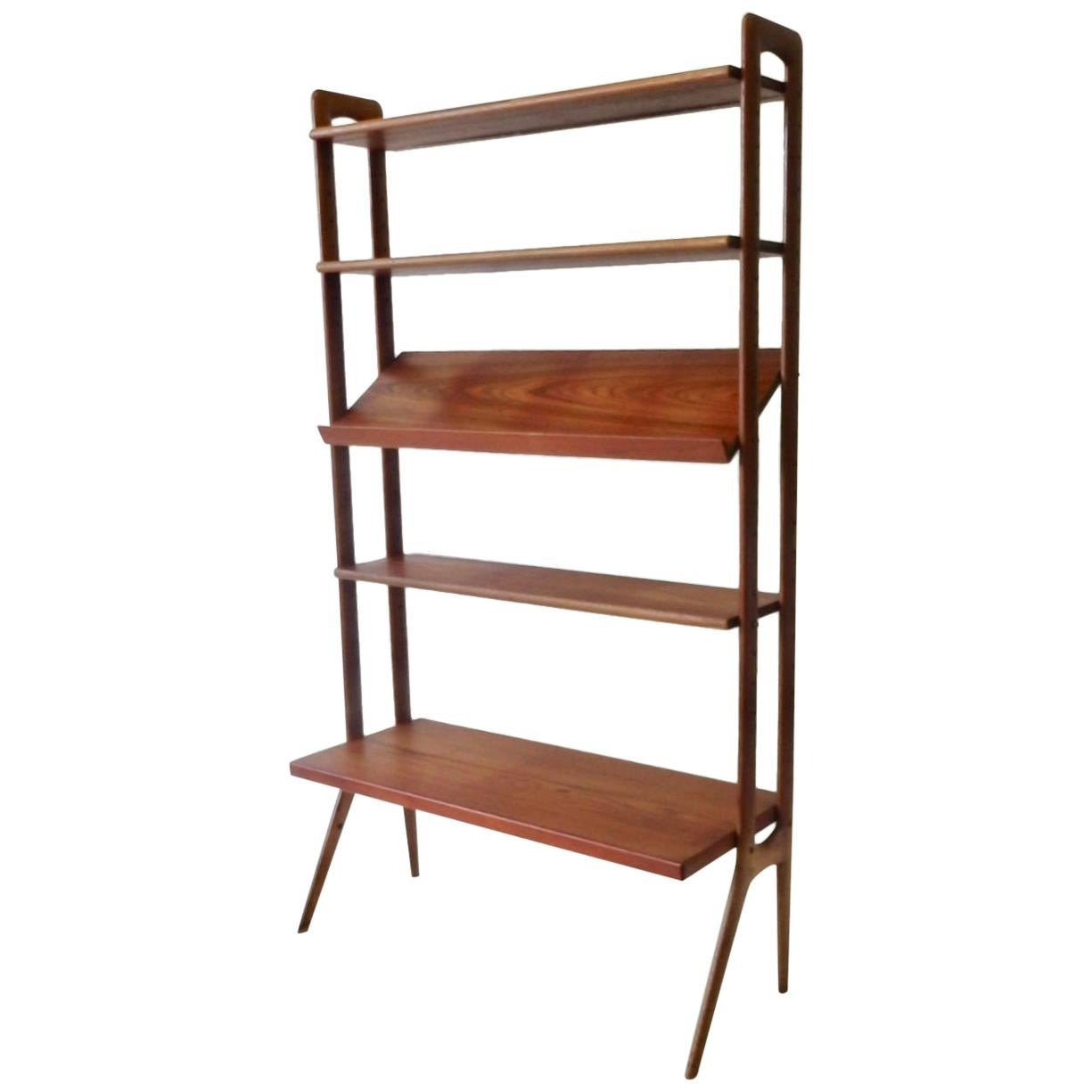 Kurt Ostervig Povl Dinesen Danish Teak Adjustable Bookshelf with Display Shelf