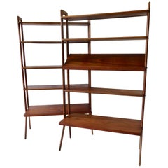 Kurt Ostervig Povl Dinesen Danish Teak Adjustable Bookshelves Room Divider, Pair