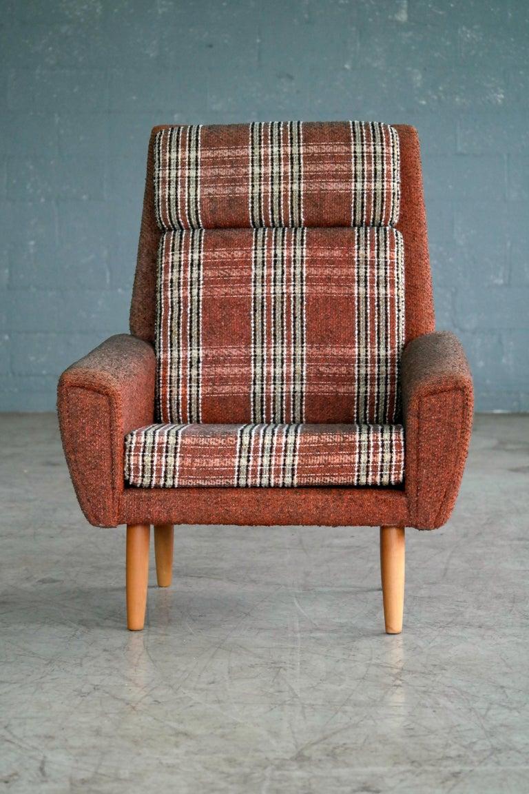 Mid-Century Modern Kurt Ostervig Style Easy Lounge Chair Denmark 1960s Original Fabric For Sale