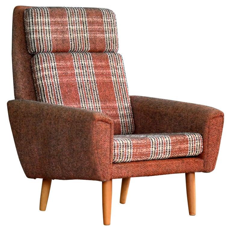Kurt Ostervig Style Easy Lounge Chair Denmark 1960s Original Fabric For Sale