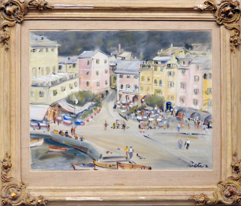 Beautiful and original painting of a Paris street scene by German/American artist Kurt Polter (b.1914). Painting is gauche on paper. Work is framed and behind glass. Frame is vintage Italian and is in need of some repair. The painting is from the