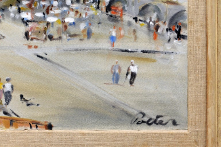 Wood Kurt Polter Original Painting of Paris Street Scene with Italian Frame For Sale