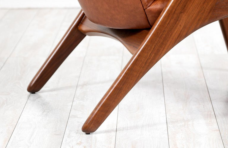 Kurt Østervig Cognac Leather Wing Chairs for Rolschau Møbler For Sale 4